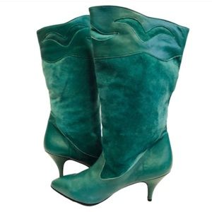 Vintage 80s Teal Leather & Suede Gogo Boots Sz 6.5